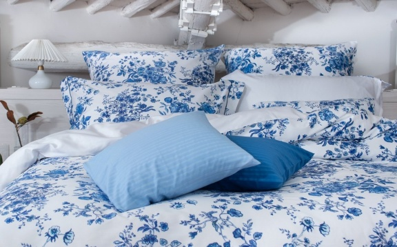 Blue Flora Duvet Cover
