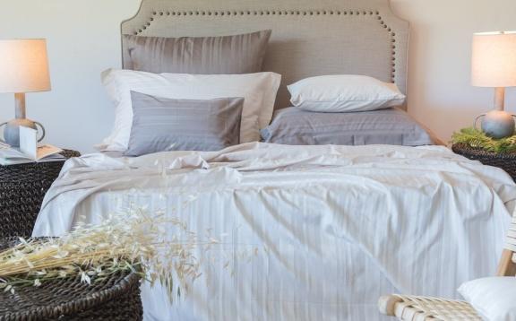 Tess Taupe jaquard stripe sheets
