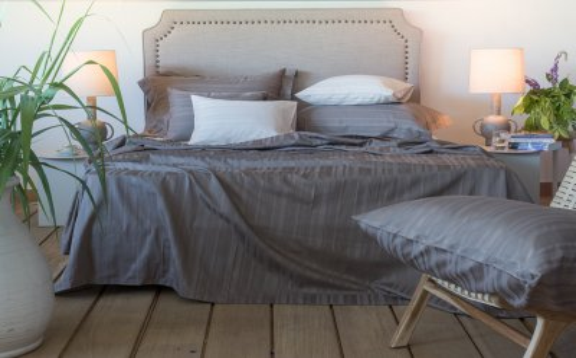 Tess Ecru jaquard stripe sheets
