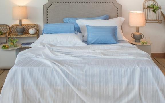 Tess white jaquard stripe sheets