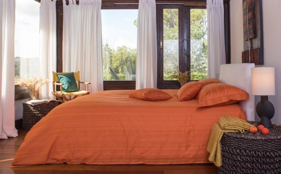 Tess Orange jaquard stripe.